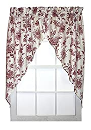 Winston FloralPrint Swags / Jabot Curtains Pair 68-Inch-by-36-Inch, Red