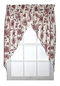 winston floral print swags jabot curtains pair 68 inch by 63 inch red home kitchen. Black Bedroom Furniture Sets. Home Design Ideas
