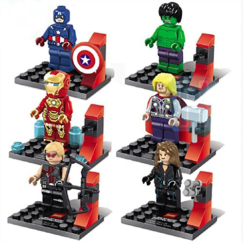 OliaDesign Super Heroes 6 Avengers Figures with Weapon Holder (Super Heroes Avengers)