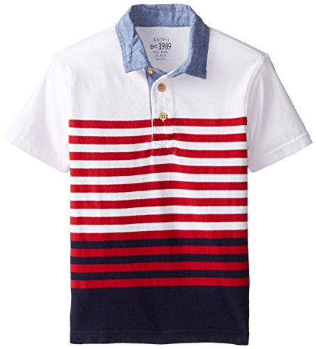 The Children's Place Big Boys' Short Sleeve Stripe Usa Polo the big short