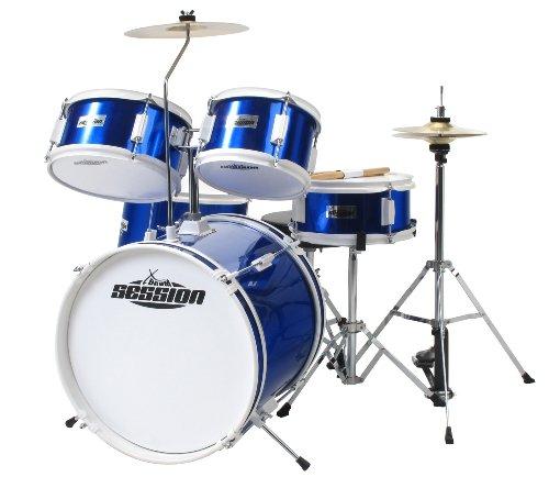 xdrum-junior-kinder-schlagzeug-drumset-geeignet-von-5-9-jahren-mit-viel-zubehor-schule-dvd-blau