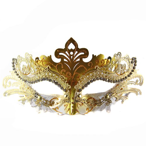 Exclusive Womens Ball Prom Queen Crown Metal Venetian Mask Masquerade (Gold/White)