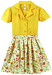 Oye Puff Sleeves Dress With Pleated Bottom - Yellow/Yellow (1-2 Y)