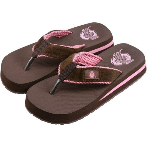 Cheap Ohio State Buckeyes Two Tone Ladies Suede Flip Flops (B000RUQ7U0)