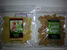 Trader Joe\'s Uncrystallized Candied Ginger and Trader Joe\'s Crystallized Candied Ginger Combo Pack (One 8 Oz. bag of each)