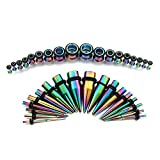 Rainbow Ear Gauges Stretching Kit 36 Pieces Stainless Steel Tapers with Plugs 14G - 00G Kit - 18 Pairs Vcmart