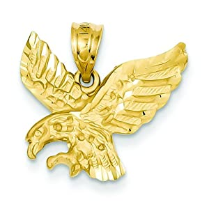 14K Yellow Gold Eagle Charm Bird Pendant Jewelry