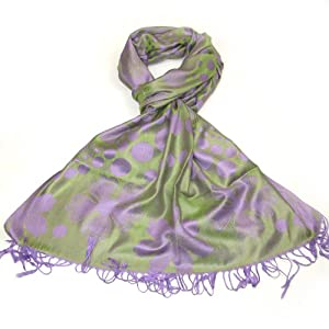 Lovarzi Womens Green & Purple Pashmina Scarf  Polka Dot Floral Scarves for Ladies and Girls
