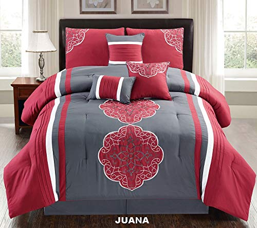 Unique Home 7 Pieces Bedding Comforter Set Flower Hexagon on red with Dark Gray Background and a hint of Beige with Pillow Sham Cushion Bed Skirt King