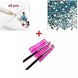 Sealive Nail Art Rhinestone Picking Up Wax Pencil+1 pc Nail Pencil Rest Holder+1440pcs 2mm Blue Nail Art Glitter Decoration Tips