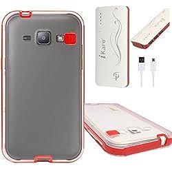 DMG LED Flashing Call Notification TPU Back Cover Case for Samsung Galaxy J1 (Red) + 10000 mAh Power Bank