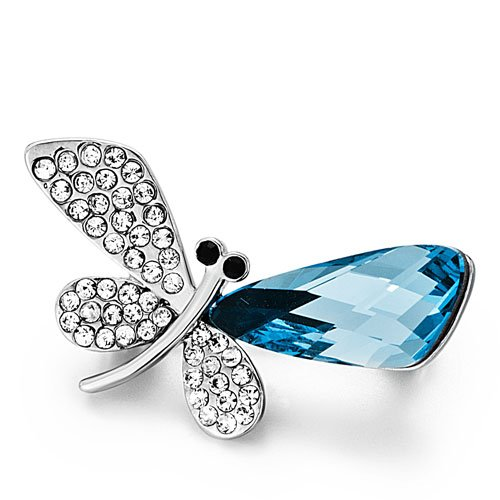Pugster Christmas Gifts Dragonfly Clear Detailed &aquamarine Animal Swarovski Crystal Rhinestone Brooches Pins