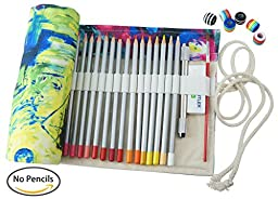 CreooGo Canvas Pencil Wrap, Pencils Roll Pouch Case Hold For 48 Colored Pencils ( PENCILS NOT INCLUDED )-Paniting,48 Holes