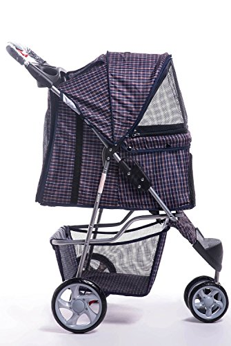 Merax Folding Cat Dog Pet Carrier Stroller Three-wheeled and Four-wheeled (Blue Grid, Three-wheeled)