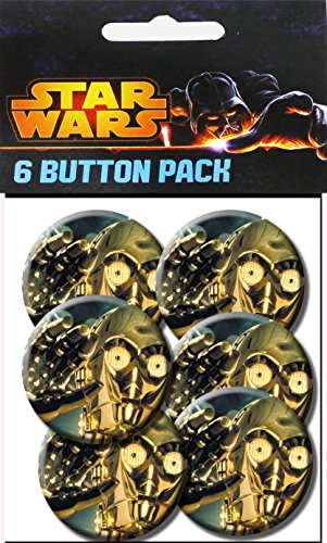 C&D Visionary Star Wars C3PO Close Up 1.25 Inch Button, (6-Piece)