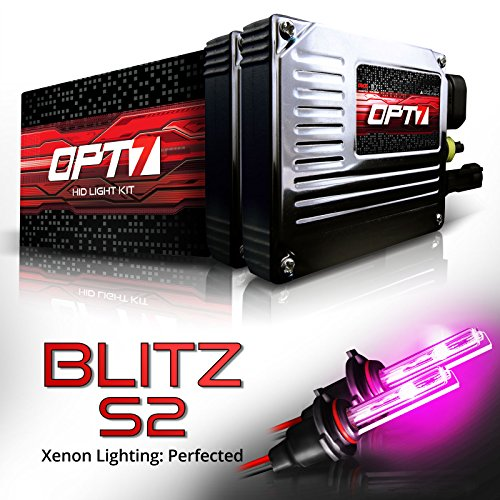 OPT7 Blitz S2 HID Xenon Kit 3.5x Brighter - 4x Longer Life - All Colors and Sizes Simple DIY Install - 2 Yr Warranty - Bulbs and Ballasts [5202 Hot Pink Light]
