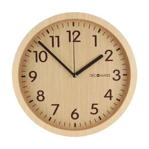 DecoMates Silent Non-Ticking Wall Clock, Modern Wooden