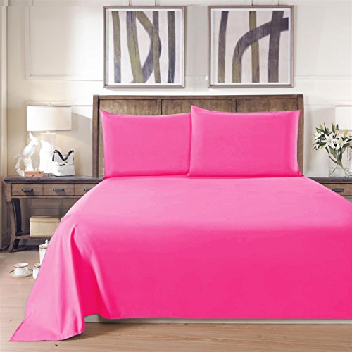 Lullabi Linen 100% Brushed Soft Microfiber Bed Sheet Set, Fitted & Flat Sheet & Pillowcases, Cozy Comfortable, Wrinkle, Fade, Stain Resistant, Deep Pockets (Pink, Queen) (Pink Sheets compare prices)