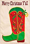 Merry Christmas Y'all Boot Garden Flag Country Applique Sequins Holly 12.5