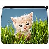 Cute Ginger Stripe Kitten Sat In Green Grass Black Large Messenger School Bag