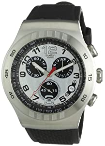 Swatch Men's YOS433 Irony Chrono Silver and Black Dial Watch