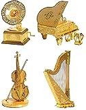 メタリック DIY 組立 キレイ 3D リアル プラモデル ゴールド 楽器 鎧 綺麗に保つクリーニングクロスセット (ハープ)