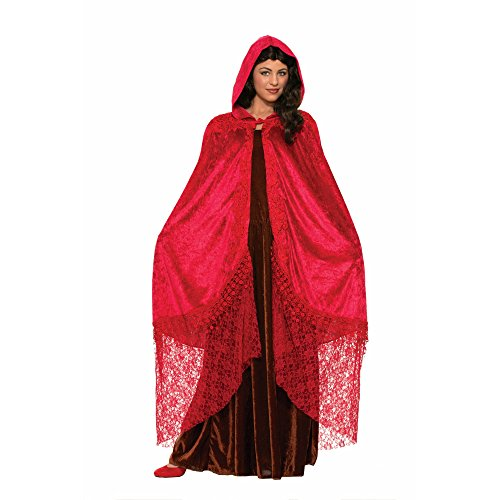 Forum Novelties Women's Medieval Fantasy Elegant Cape with Lace, Ruby, One Size (Red Riding Hood Cape For Teens compare prices)