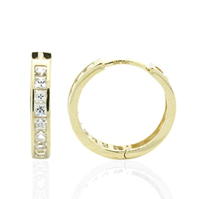 Double Accent 14K Yellow Gold Earrings 2.5mm, 12mm Diameter Cubic Zirconia Princess Cut Hoop Huggie Earrings