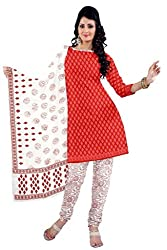 DARPAN TEXTILES Ethnicwear Women's Dress Material RED Free Size