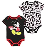 "Disney Baby Boys Mickey Mouse ""Creeper Onesie Bodysuit snapsuit"" (2 Pack, Black)"
