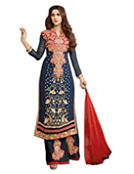 Lookslady Embroidered Dark Blue & Red Georgette Semi Stitched Salwar Suit