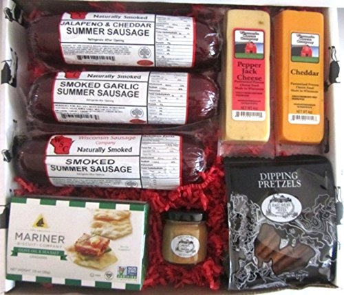Smoked Summer Sausage with Cheese, Cracker and Dipping Pretzel Gift Box image