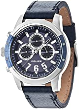 Police Kicker Men's Quartz Watch with Blue Dial Chronograph Display and Blue Leather Strap 14381JSTBL/03