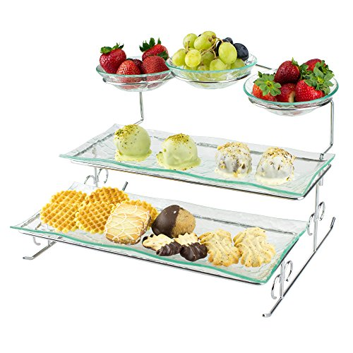 3 Tier Server Stand with Trays & Bowls - Tiered Serving Platter - Perfect for Cake, Dessert, Shrimp, Appetizers & More (Dessert Dishes Serving compare prices)