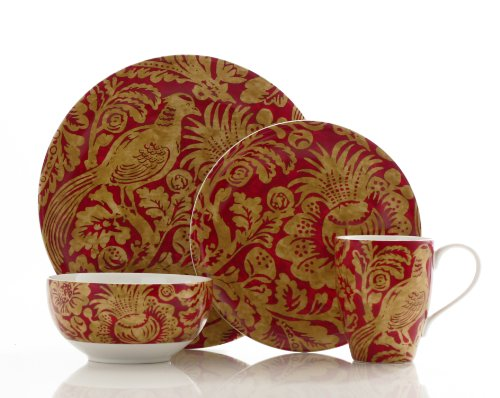 222 Fifth Belorado 16-Piece Dinnerware Set, Red