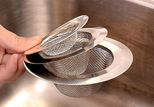 Hineway Stainless Steel Kitchen Sink Strainer Drain Hole Filter with Residue-Filtering Bag 3 Set