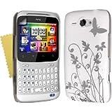 Neues Qualität Weiß Und Silber Schmetterling Muster Harte Rückseite Hybride Schutzhülle Für HTC ChaCha Mit Frei Displayschutz Von Yousave