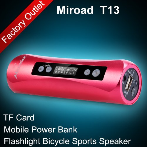Red Color Miroad T13 7-In-1 Bicycle Sports Flashlight Hi-Fi Mp3 Speaker Subwoofer Mini Portable Tf Card Fm Radio Record Mobile Power Bank For Iphone Samsung Nokia Htc Mobile Smartphones