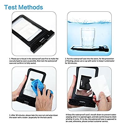 "Universal Waterproof Case - TURATA Waterproof Case Cell Phone Dry Bag for iPhone 6/6s, 6 Plus/6s Plus, 5/5s, Samsung Galaxy S7/S7 Edge, S6 Note 5 4, HTC LG Sony Nokia Motorola up to 6.0"" diagonal by TURATA"