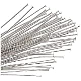 Beading Station 200-Piece Head Pins for Jewelry Making, 1.5-Inch/35mm, Silver