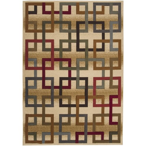 7.8' x 10.25' Majestic Square Puzzle Links Maroon and Sepia Area Throw Rug