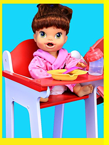 Baby Alive FURNITURE With Doll Bed KidKraft High Chair & Crib + Lucy Eats Baby Food Diaper Change
