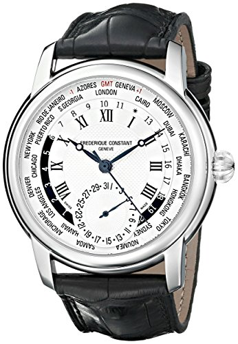 Frederique-Constant-World-Timer-Mens-Designer-Watch-Silver-Dial-Analog-GMT-24-Hour-Watch-Stainless-Steel-Black-Leather-Strap-Swiss-Watch-with-Second-Hand-Frederique-Constant-Automatic-Watch-FC-718MC4H