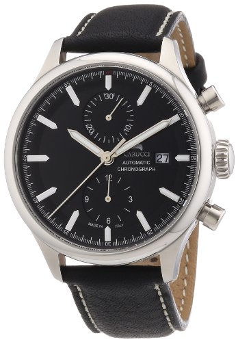 Carucci Watches Swiss Collection CA6376BK-BK - Reloj para hombres, correa de cuero color negro