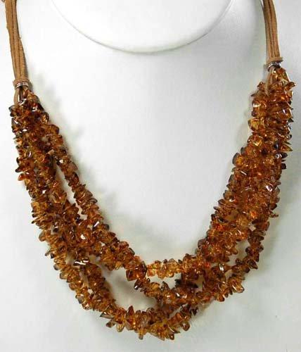 Smoky Quartz Chip & Leather Necklace 16
