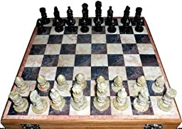 The Hue Cottage Chess Board Handcrafted Stone Work Wooden Box Marble Showpiece Games Toy 12\