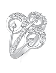 Mahi Rhodium Plated Love Link Fingerring With CZ For Women FR1100412R