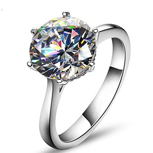TenFit Jewelry Elegant 4ct Round Cushion Cut Solitaire Halo Diamond Wedding Engagement Ring (Cushion Cut Engagement Rings compare prices)