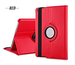 TGK 360 Degree Rotating Leather Case Cover Stand for iPad Mini Retina Display - Red