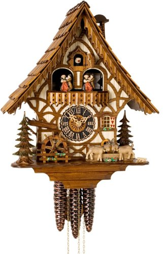 River City Clocks MD484-14 One Day Musical Cuckoo Clock Cottage with Dancers, Waterwheel, And Goats, 14-Inch Tall